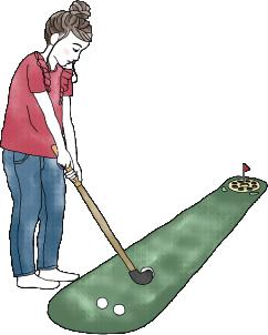 ヨ大人のマネをしてゴルフの練習。表情はどんどん真剣に。集中している私は、大人っぽい?